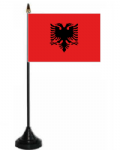 Albania Desk / Table Flag with plastic stand and base.